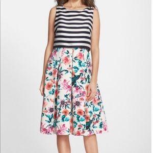 Eliza pop over fit and flare dress floral stripe